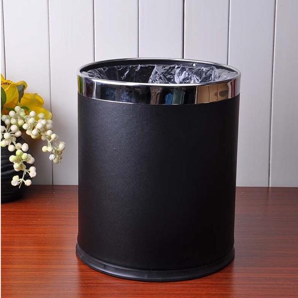 酒店宾馆客房垃圾桶KTV办公室家用黑色双层简约无盖小垃圾桶